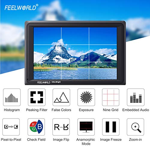 FEELWORLD FW279S 7 Inch 4K HDMI 3G-SDI 2200nit Daylight Viewable 1920x1200 On-Camera Field Monitor with Histogram, Focus Assist, Zebra Exposure, False Color, Check Field, Pixel to Pixel for DSLR Camer by FEELWORLD (Image #4)
