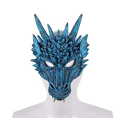 Peyan 3D Soft Half Mask Dragon Cosplay Mask Costume - for Kids Teens Halloween Masquerade Party Mardi Gras 11.81x 8.26 inch Blue: Clothing