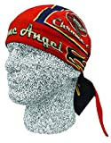 Red Blue Chrome Angel Doo Rag Headwrap Skull Cap Biker Durag Sweatband