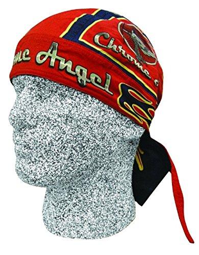 Red Blue Chrome Angel Doo Rag Headwrap Skull Cap Biker Durag Sweatband by ZIZI SPORTS SUPPLY