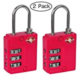 Ivation Luggage lock, Three Dial TSA Approved Combination, great for Personal Bags, Luggage's, Totes, Suitcases, Duffle bags, Gym Lockers, with Instant Alert Red Tab Indicator If opened By TSA, Pink - 2 Pack