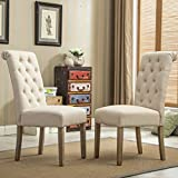 Kyпить Roundhill Furniture Habit Solid Wood Tufted Parsons Dining Chair (Set of 2), Tan на Amazon.com
