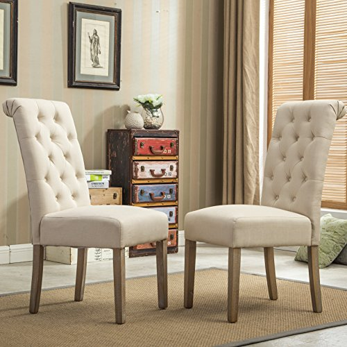 Roundhill Furniture Habit Solid Wood Tufted Parsons Dining Chair (Set of 2), Tan (Chairs Tufted Upholstered Dining)