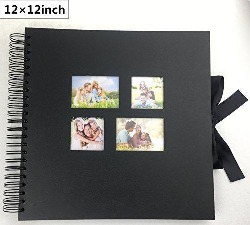 Scrapbook Photo Album 12x12 Inch Scrapbook Album With 80 Black