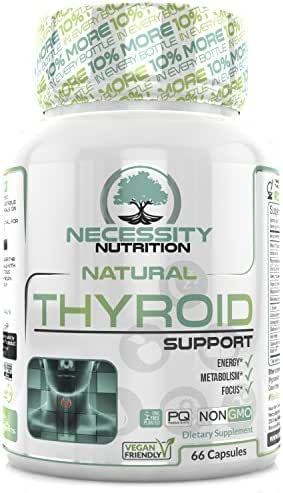 Thyroid Support Supplement Complex 66 Capsules - Boost Energy, Metabolism, Brain Function & Focus   Natural Weight Loss Formula   Non GMO - Contains Iodine, Vitamin B12, Zinc, Ashwagandha and Selenium