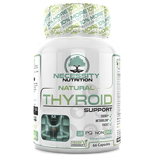 Thyroid Support Supplement Complex - Energy Metabolism Focus Natural Weight Loss Formula Non GMO - Iodine Vitamin B12 Zinc Ashwagandha Selenium Kelp Copper Magnesium -Boost Brain Function 66 Capsules (Fat Loss Support Formula)
