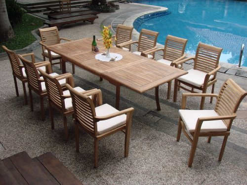 Cheap Grade-A Teak Wood luxurious 11 pc Dining Set : Large 117″ Double Extension Rectangle Table and 10 Sam Stacking Arm Chairs #TSDSMSd