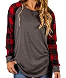 Tomlyws Women's Casual Crewneck Plaid Long Sleeve T-Shirt Blouse and Tops Dark Grey and Red XXL