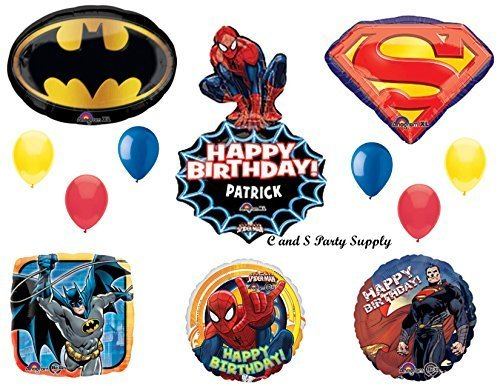 SUPERHEROES---SPIDER-MAN, SUPERMAN & BATMAN Birthday Party Mylar BalloonS Decorations Supplies by Anagram by Anagram