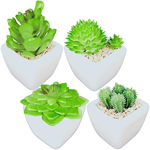 Artificial Succulent Plants Potted in Ceramic Pots for Home Décor and Office, Mini Fake Succulents Artificial Plants, Mini Size, Set of 4