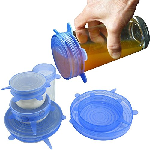 Silicone Stretch Lids By Bestoffer | Reusable Food Covers Wrap Stretch Top Lid Suction BPA Free Microwave Storage Organizer 6 Pack ( Blue )
