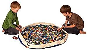 SWOOP® Bag Original Toy Storage Bag + Play mat, Blue - Ideal for organizing and cleaning up Lego pieces!