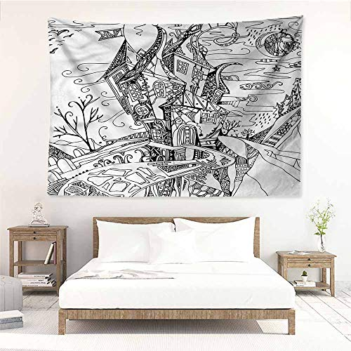 Sunnyhome Fashion Tapestry,Sketchy Cartoon Witch Halloween,Tapestry for Home Decor,W60x40L ()