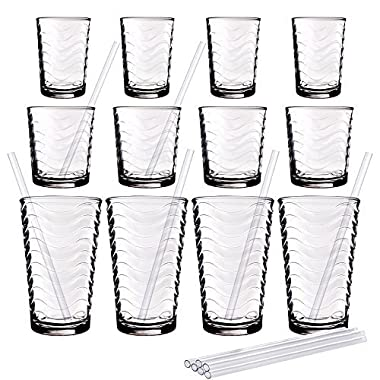 Durable 12-Piece Set of Clear Drinking Glasses with Reusable Acrylic Straws, 4 7-Ounce Juice Glasses, 4 13-Ounce DOF Glasses and 4 17-Ounce Highball Glasses, Home & Party Drinkware set
