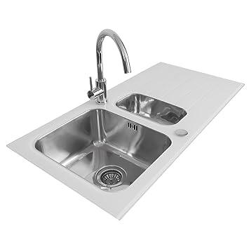 valle elsa designer white glass u0026 stainless steel kitchen sink x 500mm reversible 15 bowl