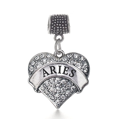 Inspired Silver Aries Zodiac Pave Heart Memory Charm Fits Pandora Bracelets & Compatible with Most Major Brands such as Chamilia, Murano, Troll, Biagi and other European (Inspired Pave Heart)