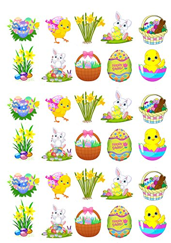 30 Stand Up Cute Easter Themed Edible Wafer Paper Cake Toppers Decorations