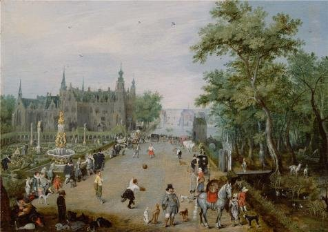 Perfect Effect Canvas ,the Best Price Art Decorative Prints On Canvas Of Oil Painting 'A Jeu De Paume Before A Country Palace,1614 By Adriaen Van De Venne', 18x26 Inch / 46x65 Cm Is Best For Kitchen Gallery Art And Home Gallery Art And Gifts