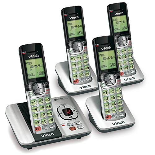 VTech CS6529-4 DECT 6.0 Phone Answering System with Caller ID/Call Waiting, 4 Cordless Handsets, Silver/Black ()