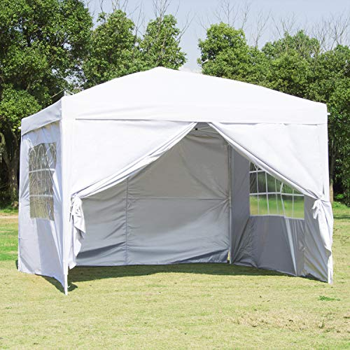 (CharaHome 10 x 10 Canopy Tent Pop Up Portable Shade Instant Folding Heavy Duty Outdoor Gazebo Canopy Tent with 4 Removable Side Walls and Carry Bag)