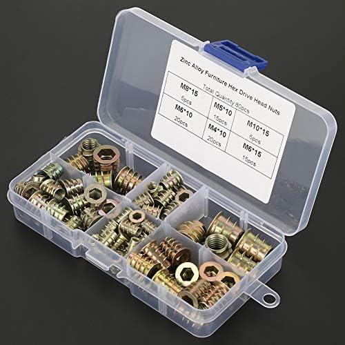 インサートナット - M4 / M5 / M6 / M8 / M10亜鉛合金ねじ込み式六角穴付き家具インサートナットセット、80パック