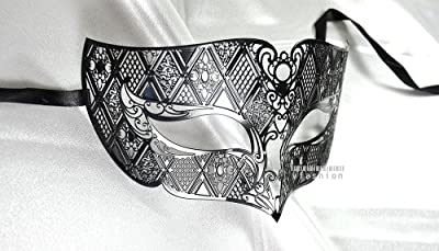 Men Plated Laser Cut Venetian Masquerade Mask - Filigree Metal Design - Event Party Ball Mardi Gars