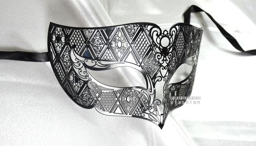 Men Plated Laser Cut Venetian Masquerade Mask - Filigree Metal Design - Event Party Ball Mardi Gars -