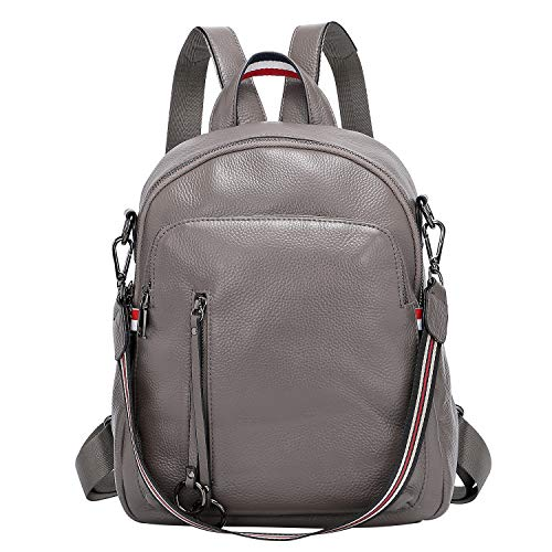 ALTOSY Fashion Genuine Leather Backpack Purse for Women Shoulder Bag Causal Daypack (S9, Grey)