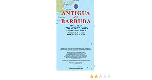 Antigua and Barbuda Road Map with Street Index and Diving Sites ...