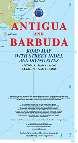 Antigua and Barbuda Road Map with Street Index and Diving Sites