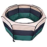 "PawHut 47"" Portable Large Exercise Puppy Pet Playpen Dog Cat Cage Kennel Crate with Carry Bag Green"