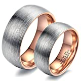 Aooaz 2 Pcs Wedding Rings Stainless Steel Rings For Couples Rose Gold Rings With Free Engraving Womens 8 & Mens 12 Novelty Jewelry Gift