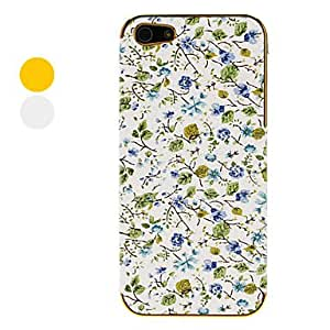 Buy Blue Roses with Green Leafs Pattern Electroplated Hard Case for iPhone 5 (Assorted Colors) , Silver