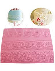 Anyana huge 16 texture Lace Silicone impression Mat fondant imprint lace mat Cake candy Decorating Supplies Color Pink Pastry gumpaste Sugar Paste Baking Mould edible floral lace wedding