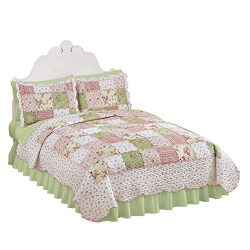 Collections Etc Country Bloom All Over Floral Patchwork-Style Reversible Lightweight Quilt, ()