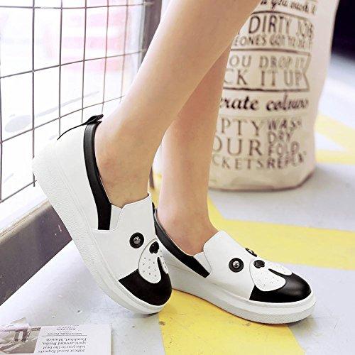 Carolbar Mujeres Dog Print Sweet Cute Assorted Colors Casual Flats Zapatos Blanco