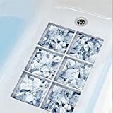 AmazingWall 5.9x5.9'' 3D Ice Cube Bathtub Safety Sticker Bath Treads Anti Slip Waterproof Bathroom Decals 6pcs/set