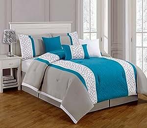 Amazon Com 7 Pieces Luxury Turquoise Blue Grey And White