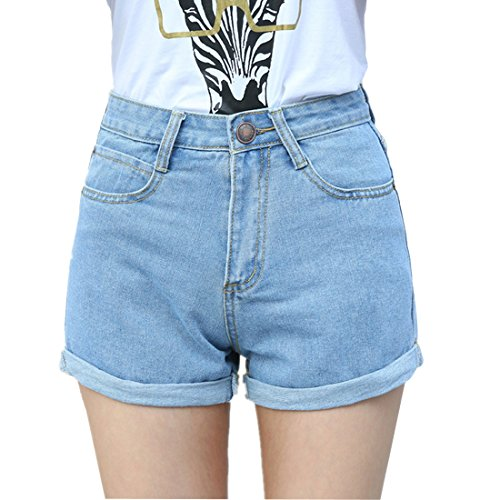 Weigou Women Denim Shorts Vintage Retro High Waist Blue Curling Short Jeans