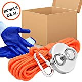 Magnets Fishing with 65Ft(20M) Rope, Carabine and Hand Gloves, 885Lbs(401Kg) Pulling Force Strong Neodymium Magnet for Salvage, Fishing and Retrieving