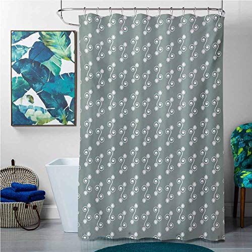 Shower Curtains Thistle Vintage Floral,Tulip Flowers on Curly Branches Spiral Concept Design Feminine,Pale Sage Green White,W65 x L72 Halloween Shower Curtain Hooks
