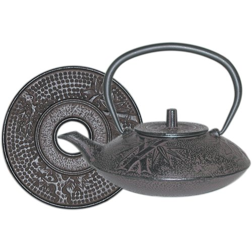 Brown Cast Iron Teapot with Trivet, 40 oz Capacity by BigKitchen
