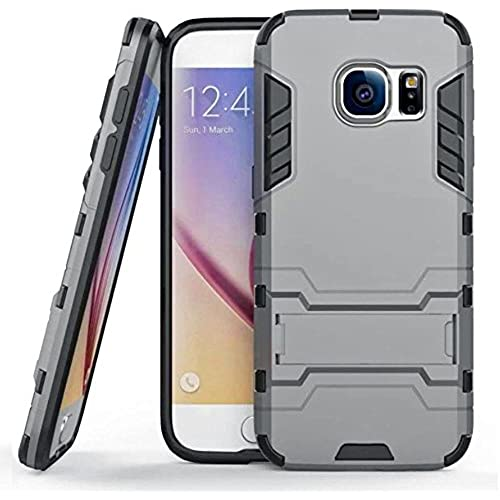 New Wayzon Soft Silicone and Hard Plastic Dual Layers Samsung Galaxy S7 Edge Case Cover with Foldable Back Bracket Kickstand for Galaxy S7 Edge(Grey) Sales