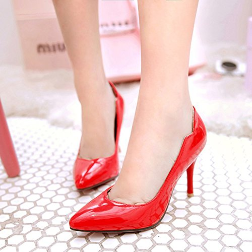 Aisun Womens Elegant Pointed Toe Dress Stiletto High Heels Slip On Wear To Work Pumps Shoes Red MqZ9Bq
