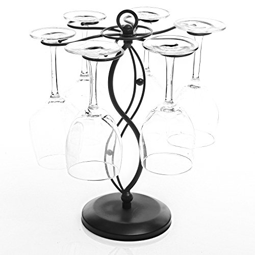 Scrollwork Black Metal Freestanding Tabletop Stemware Storage Rack/Wine Glass Cup Holder with 6 Hooks
