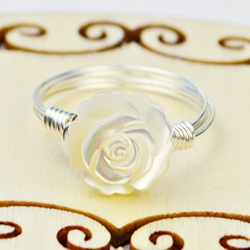 Pearl Rose Ring (Carved White Mother of Pearl Rose Flower Sterling Silver Wire Wrapped Ring- Custom made to size 4 -14)