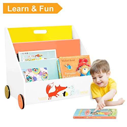 7 Days Only ☚ Kid Bookshelf with Wheels, Orange Fox Wood Bookshelf for Kids 1 Year up, Kid Book Display/Bookshelf Kid Wooden/Book Display Stand Kid/Book Rack ()