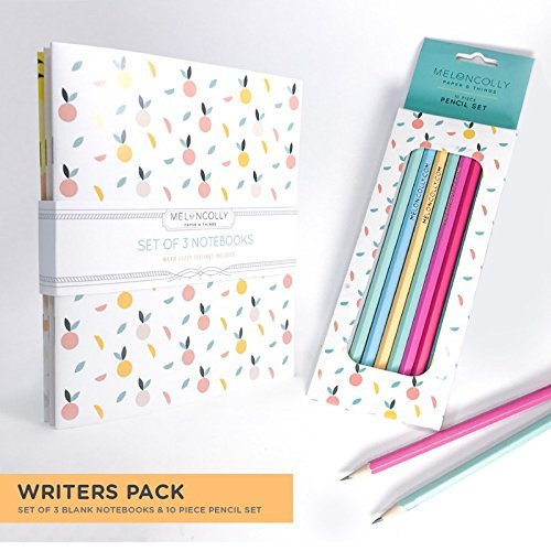 Writer's Pack, Set of 3 notebooks, blank inside, Peaches, Cute, Colourful and Pack of 10 Gold Foil Pencils, Fully Designed and Printed in Canada Writer' s Pack