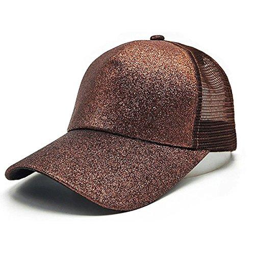 Ponycap Messy High Bun Ponytail Adjustable Glitter Plain Baseball Fluorescence Visor Hat Breathable Net Cap Summer Sun Hat(Glitter ()