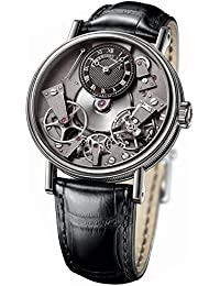 Tradition Black Skeleton Dial 18kt White Gold Black Leather Mens Watch 7027BBG99V6